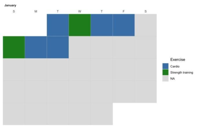 ggcal calendar with customized colors