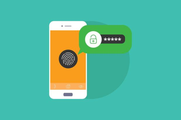 Mobile security: lock screen processing biometric fingerprint identification and encrypted password.