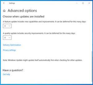 1903 windows update advanced options