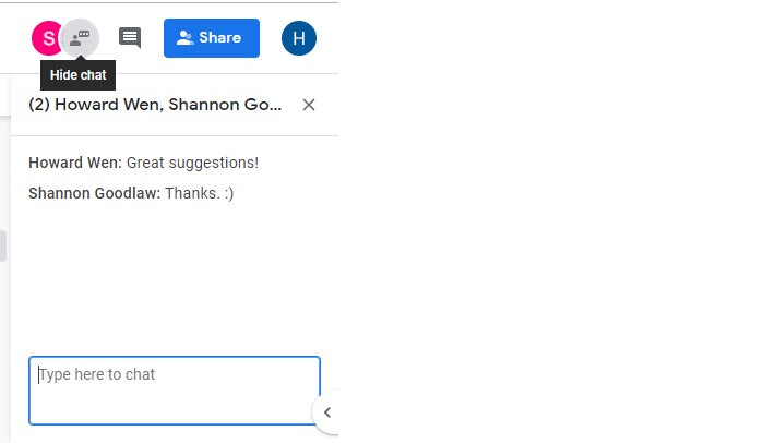 google drive collaboration real time chat pane