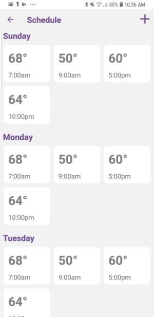 Mysa smart thermostat app