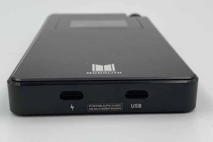 Dual USB ports on the bottom allow you to charge the unit and use it as a USB DAC simultaneously.
