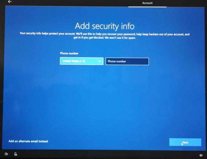 Windows 10 OOBE phone number password