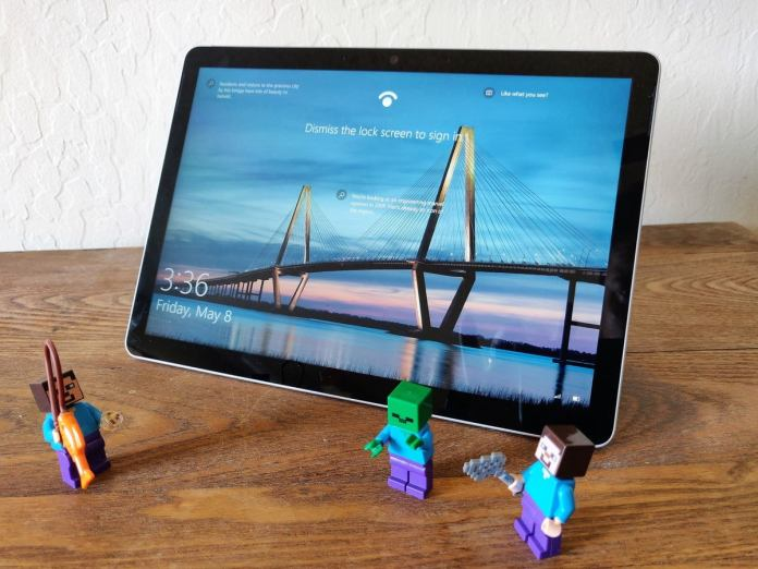 Microsoft Surface Go 2 propped up