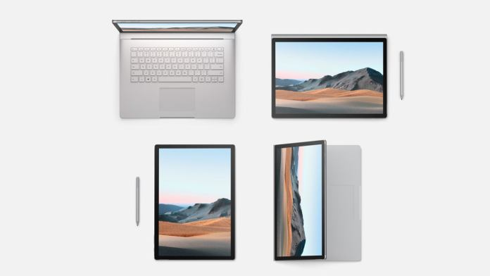 Microsoft surface book 3 different layouts