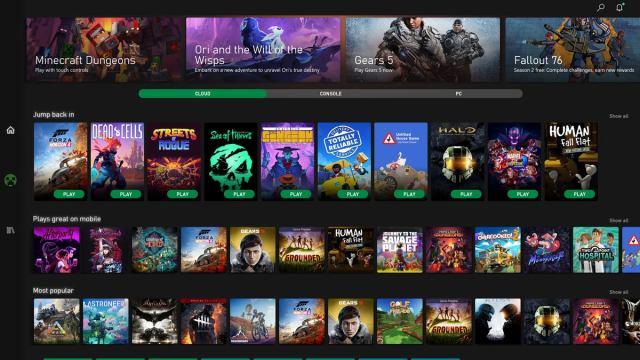 Microsoft Xbox Game Pass для Android с открытым экраном