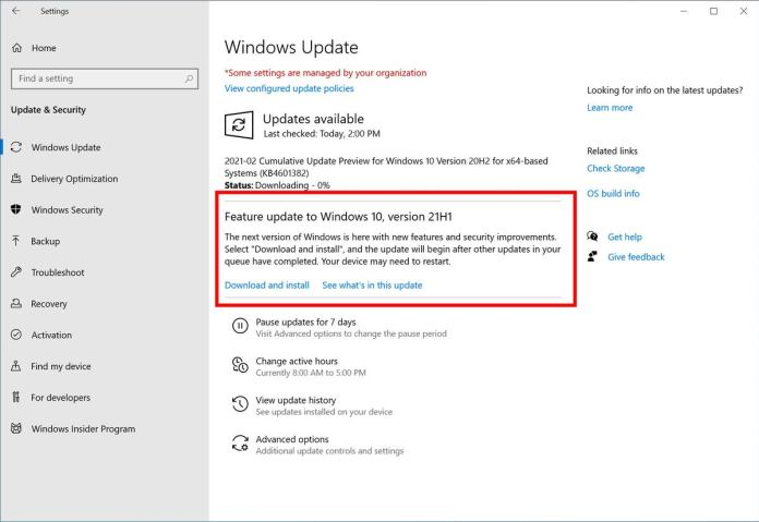 windows 10 21h1 how to get it