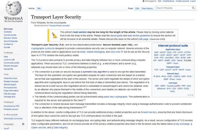 wikipedia TLS entry
