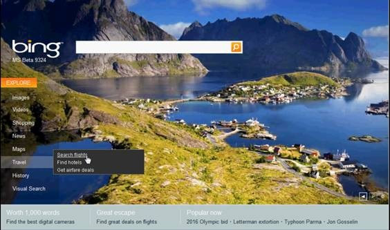 New bing novo search engine buscador html5