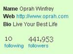 Twitter Followers for Oprah