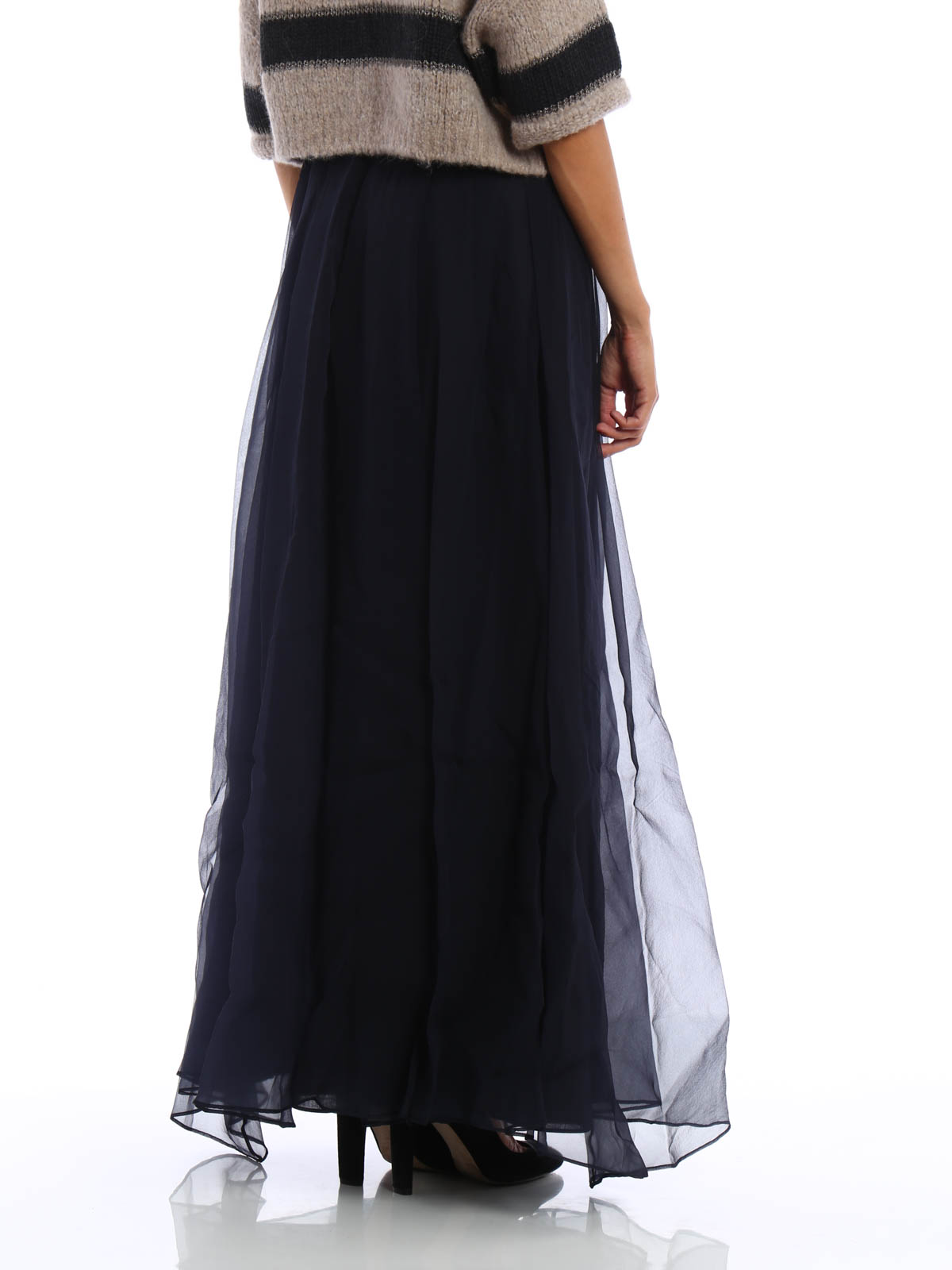 Brunello Cucinelli Silk Tulle Layered Maxi Skirt Long