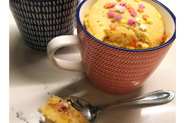 starry microwave mug cake cooks in 2 minutes