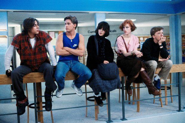 Judd Nelson, Emilio Estevez, Ally Sheedy, Molly Ringwald, Anthony Michael Hall in The Breakfast Club