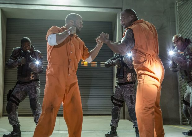 Dwayne Johnson as Luke Hobbs, Jason Statham as Deckard Shaw in Fast and Furious 8