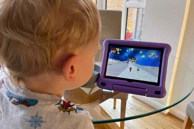 Toby using the Amazon Fire HD 8 Kids Edition
