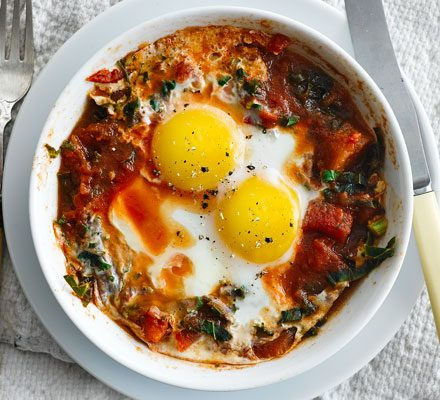microwave kale chilli eggs
