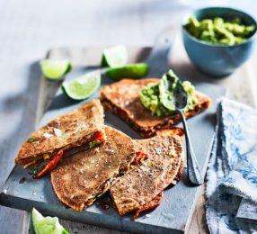 Sweet potato, peanut butter & chilli quesadillas recipe | BBC Good Food