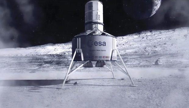 Спускаемый аппарат переносит жилую капсулу на поверхность Луны.