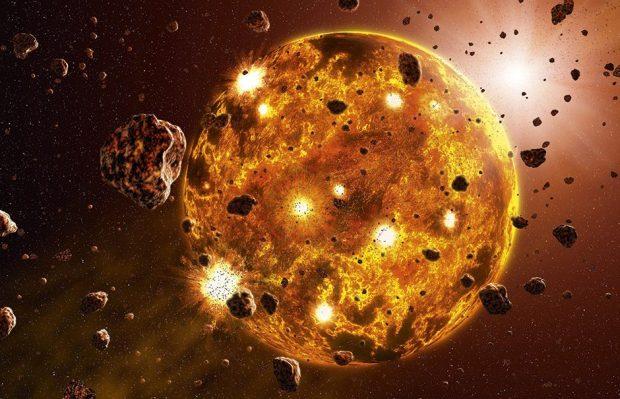 प्रारंभिक सौर प्रणाली © विज्ञान फोटो लाइब्रेरी में उग्र टक्कर दिखाते हुए चित्र