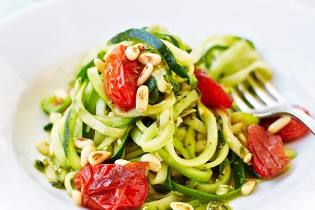Courgetti Recipe With Pesto and Balsamic Tomatoes