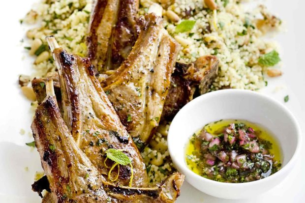 Lamb chops with fruity couscous and mint