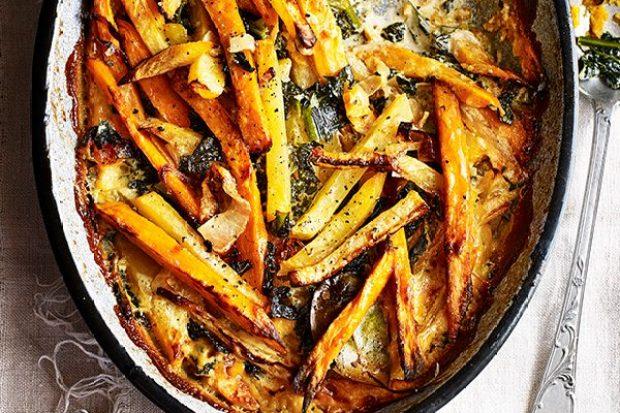 Swede, Kale And Sweet Potato Gratin Recipe