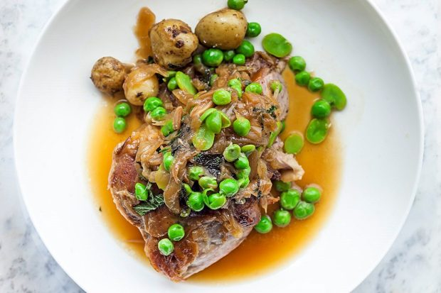 Slow-cooked shoulder of spring lamb, peas, broad beans and mint