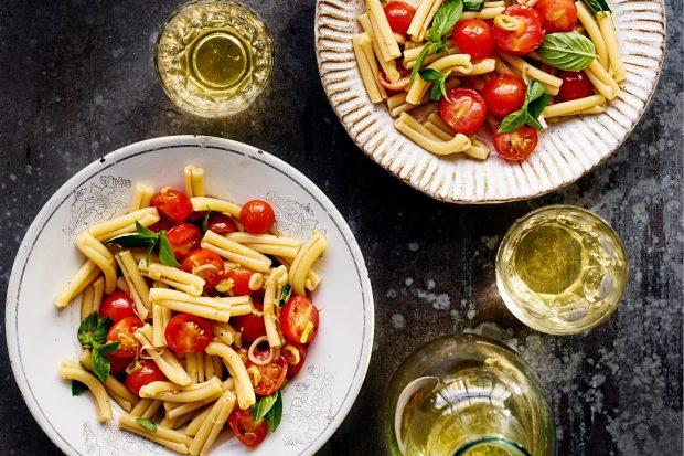 Casarecce with raw tomato sauce