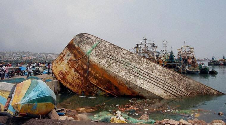 Damages aftermath of the Hudhud Cyclone in Visakhapatnam on Monday. (Source: PTI Photo)