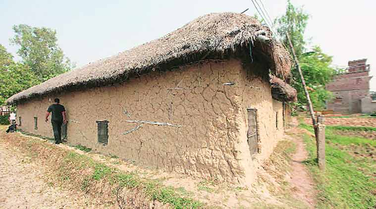 Mud and bamboo structure where 'training' was allegedly received. Those running it are now absconding.(Express photo by Subham Dutta)