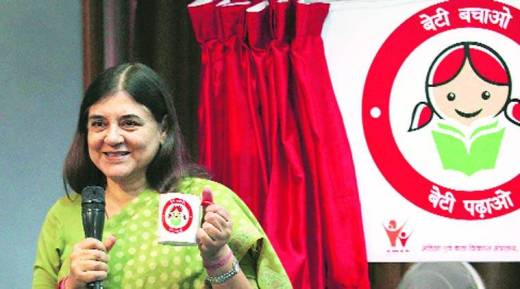 Maneka  Gandhi launches WCD ministry's new logo. (Express Photo by: Renuka Puri)