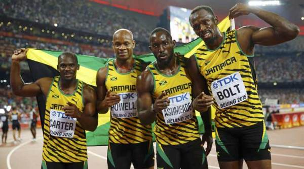 Usain Bolt wins sprint treble at Worlds after Jamaica win ...