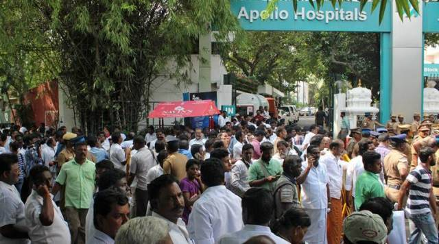 Well wishers of Tamil Nadu Chief Minister Jayalalithaa gather outside Apollo hospital where Jayalalithaa is being treated in Chennai. (Source: REUTERS photo)