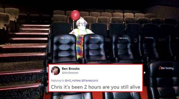 'IT' clown spotted in an empty movie hall; Twitterati freak out