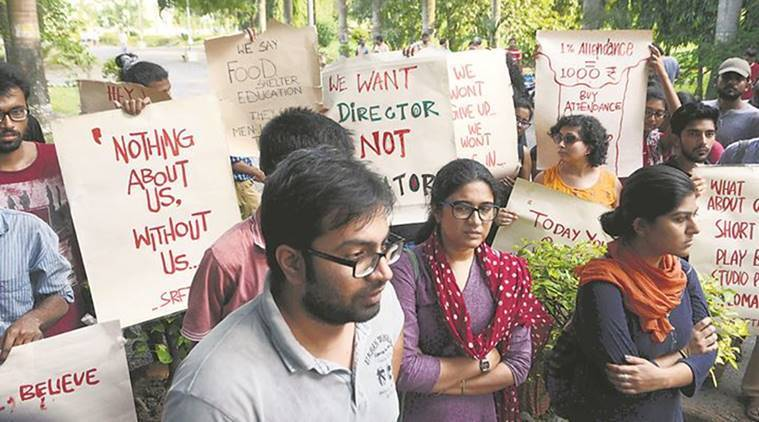 SRFTI protest, Day 9: Not allowed to enter campus second time, says director; students denyallegation