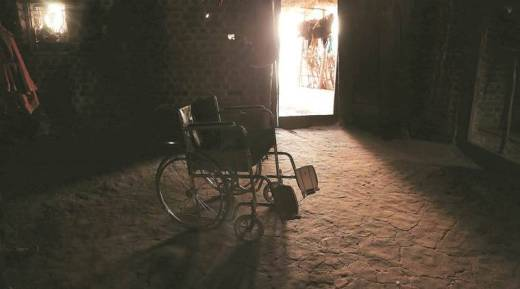 The wheelchair lies abandoned as it is of no use in the hilly village and Ravita is in too much pain to sit up. (Express photo/Prashant Nadkar)