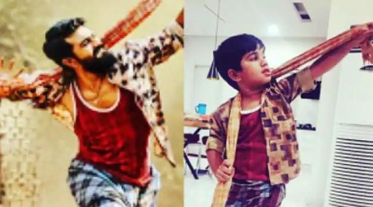 After Priya Prakash Varrier, Allu Arjun and son mimic Ram Charan from Rangasthalam