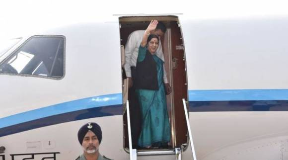 Why is Sushma Swaraj going to Azerbaijan's capital Baku today?
