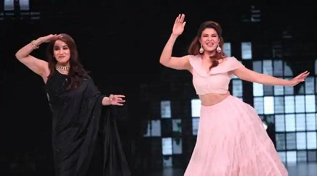 Madhuri Dixit and Jacqueline Fernandez match steps on Ek Do Teen on Dance Deewane