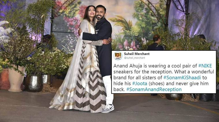 sonam kapoor, sonam kapoor marriage, sonam kapoor wedding, sonam kapoor wedding pics, sonam kapoor wedding reception, anad ahuja shoes, anand ahuja sonam kapoor wedding, sonam kapoor anand ahuja wedding, anand ahuja, twitter reactions, indian express, indian express news