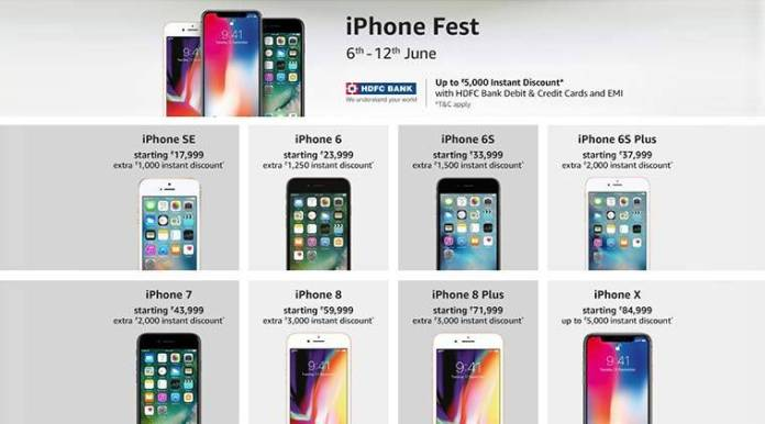 Apple iPhone Fest, Apple iPhone X, iPhone 8, iPhone 8 Plus, iPhone 7, iPhone 6S Plus, iPhone 6S, iPhone 6, iPhone SE, iPhone HDFC offers, Amazon iPhone sale
