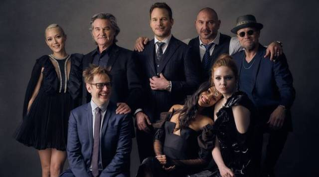 Guardians of The Galaxy cast with james gunn