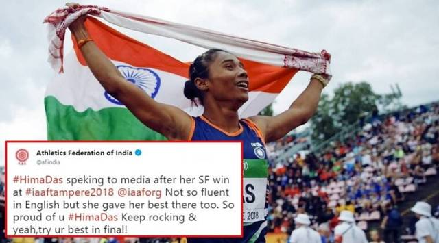 Athletics Federations remark on Golden Girl Hima Das English draws flak on Internet