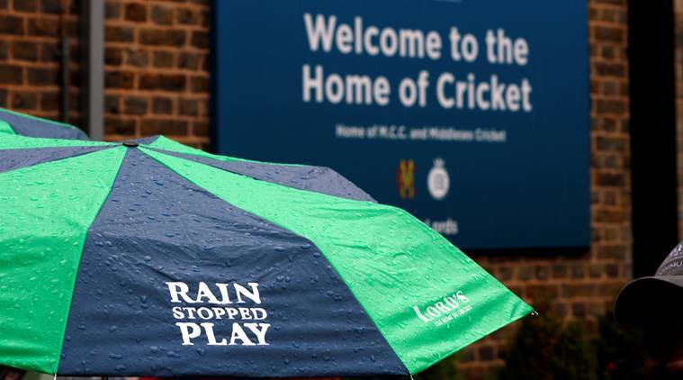 General view of an umbrella during a rain delay at Lord's