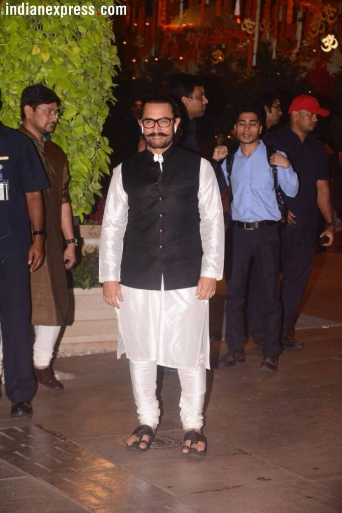 aamir khan at ambani ganesh chaturthi celebration  Mukesh Ambani's Ganesh Chaturthi bash: Kareena, Katrina, Madhuri, and others arrive in style aamir khan