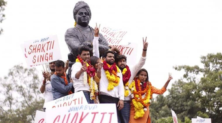 ABVP dominated the student union polls, winning president, vice-president and joint secretary posts. (Source: Twitter/ABVP)
