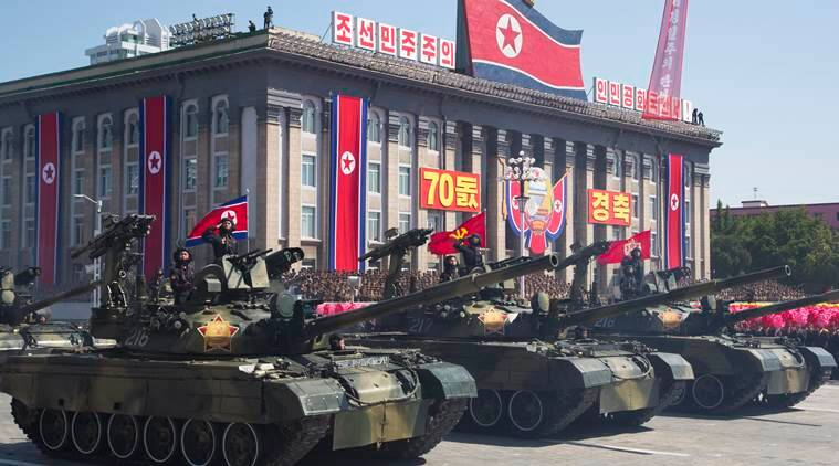 N. Korea stages military parade, holds back on advanced missiles