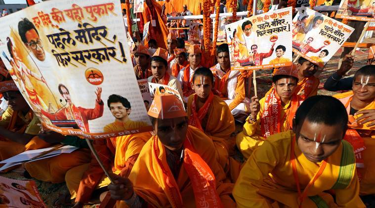 Supporters of the construction of the Ram Temple in Ayodhya on Saturday. (Express photo/Vishal Srivastav)