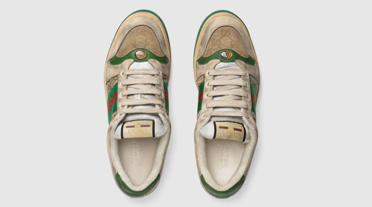 """""""Distressed"""" GG canvas sneakers, distressed shoes, gucci sneakers distressed, gucci old sneakers dirty 0, indian express, indian express news"""