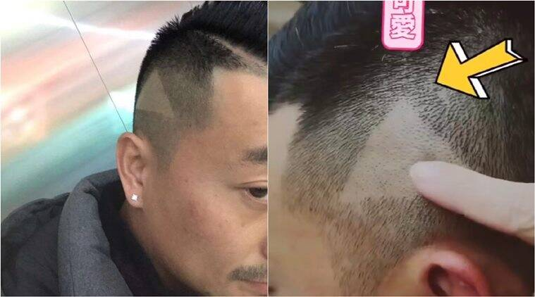 Barber Shaves Play Icon On Mans Head After He Paused To
